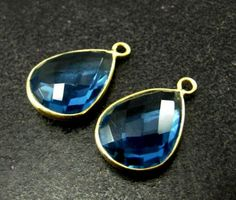 22Kt Gold Vermeil AAA London Blue Quartz by GemsAndBeadsEmporium, $21.50