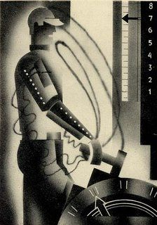 """""""Industry in 2030,"""" by E McKnight Kauffer, for FE Smith's book, The World in 2030 (pub. 1930)."""