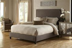 Modern Brown Wood Square Nailhead Queen Upholstered Bed