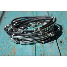 """Boho Endless Leather Wrap Bracelet """"Bangles"""" Faded Denim Blue, 5X... ($38) ❤ liked on Polyvore featuring jewelry, bracelets, bracelets & bangles, blue bangles, blue jewelry, boho jewelry and bracelet bangle"""