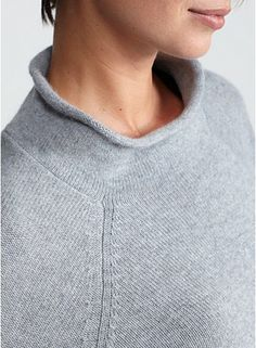 Mock Neck Top in Cashmere Reverse Jersey