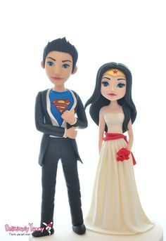 Superman Wonderwoman Wedding Bride Groom Cake Toppers Figurines by Deliciously Yummy Sydney