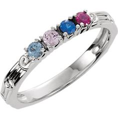 Sterling Silver 4-stone Ring Mounting for Mother
