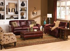 Living Room Color: Burgundy U0026 Camel · Burgundy CouchBurgundy DecorBrown  Leather CouchesLeatherLeather Living ...