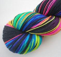 hand dyed sock yarn superwash merino nylon fingering NEON LIGHTS 460 yds.