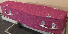 The Glitter Coffin Company, based in the United Kingdom, is here to make your final goodbye super extra. The glitter coffins can be shipped worldwide, so this is an actual thing you can blow your money on at the end of your life. Funeral Planning, Funeral Ideas, Glitter Furniture, Cherub Tattoo, Final Goodbye, Pink Coffin, Hello Kitty Birthday, When I Die, Loyal Friends