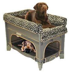 Oh my gosh! Pet bunk beds that you can put next to your bed! Shadow might die if he got to sleep next to me! (Since our dogs aren't allowed on furniture) :) This is awesome!