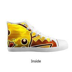 DONGMEN Custom Fashion Pokemon Pikachu Boy/Girl Kids Canvas Shoes Lace Up High Top Breathable Sneakers – Pokemon Canvas Shoes