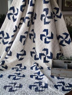 "Never Used! ANTIQUE c1880 Indigo Blue & White Pinwheel QUILT 76"" x 69"". A beautiful pattern in rich indigo blue on a off white background. An antique quilt to cherish. Measures 76"" x 69"". Never washed, there is some age spots, light tanning, a couple teeny surface holes (See photos.). 