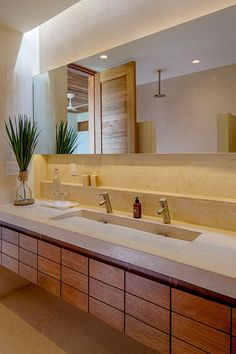 Bathroom Design Idea - Extra Large Sinks Or Trough Sinks (20 Pictures) // Two people can easily get ready at the same time in this bathroom thanks to the extra long sink that creates a convenient double vanity.
