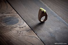 All Natural Wood and Moss Ring