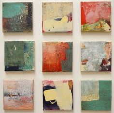Sam Lock Anniversary Series 1 – 9 mixed media on canvas panels 15 x 15cm each £220 each.