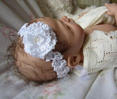 Crochet Lace Headband with Frilly Rose pattern by Betty Fay Wallace