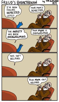 GO HERE --> http://www.all-about-psychology.com/sigmund-freud.html for Freud info & resources.  (Brilliant Freud cartoon by Nick Seluk via theawkwardyeti.com) #SigmundFreud #psychology