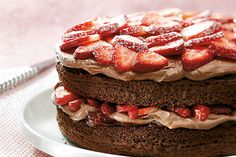 Dip a fresh strawberry in chocolate—twice. That's how deeply chocolatey we've made this strawberry shortcake.