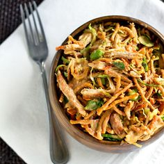 Asian dressing- together in the food processor: 2 tablespoons sugar, 1 teaspoon salt, 1/4 cup oil, 3 tablespoons white vinegar, 1/2 cup chunky peanut butter, 1 tablespoon hoison, 1 tablespoon soy sauce, and about 1/3 cup water.