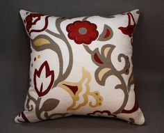 Off White Cotton Decorative Pillow Cover with floral by LenkArt
