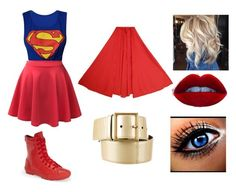 """Superwoman Diy Costume"" by ali-gator-808 ❤ liked on Polyvore featuring LE3NO, Converse and Yves Saint Laurent"