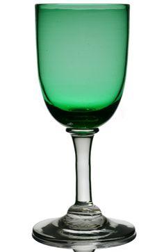 Five English 19th Century Green Cordial Glasses