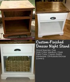 Custom night stand, refurbished bedside table. Night Stand Cost: $45 Paint  Stain: $0 (already had on-hand) Hardware: $4 Basket: $15 (at Home Goods) - Paint distressed with fine grit sand paper.