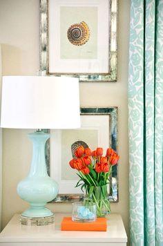 Go Coastal with Blue and Orange Room Decor.