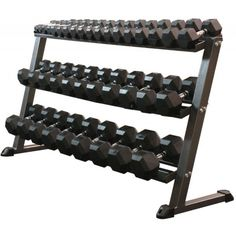 MDUSA Three Tier Hex Dumbbell Rack - Dumbbell Racks - Weightlifting Equipment