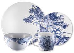Så vackert porslin blått och vitt