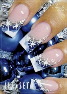 Blue Sparkle Tips Christmas Nail Art
