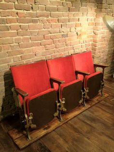 Vintage Cinema Chairs Theatre Seats - this just looks like a few boards that have been connected and stained.