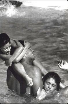 Dean and his daughters in the pool