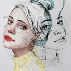 Rochellelyle.com @anasantos_illustration ☄ #illustration #illustrator #illustrate #illustrations #artist #art #artistsoninstagram #artwork #artexhibition #arts #portrait #femaleportrait #style #inspiration