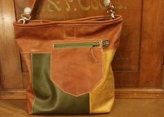 Brown Chestnut Leather Colorblock Crossbody Shoulder Bag Olive Green Light Handmade in USA by ForgedLeatherBags on Etsy