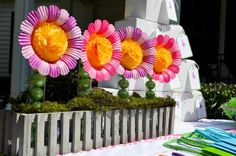 Huge paper flowers.  The stems are tall, skinny cylinder vases filled with limes.