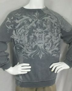BKE Men's Sweater XL Graphic Distressed Washed look Crewneck Cotton #Buckle #Crewneck