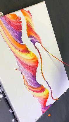 Diy Canvas Art, Canvas Art Paintings, Abstract Acrylic Paintings, Canvas Painting Projects, Abstract Art For Kids, Abstract Painting Techniques, Abstract Drawings, Painting Videos, Blue Abstract