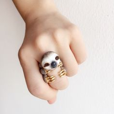 adorable sloth ring