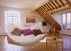 We love our outdoor hammock, why not have one inside too? Especially one this big that can be shared!