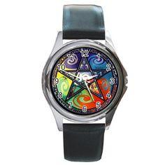 Wicca Pentagram Round Metal Watch for gift by pribumisaktirowo
