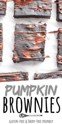 Pumpkin Brownies are the best gluten-free brownies with just 5 ingredients. Extra fudge-y, healthy and gluten free? That's winning the brownie game. The ultimate brownies for gluten free lovers! What you need to know to create a fudgy brownie that is healthy for you! The ultimate dessert for the fall season.  #PumpkinDessert #PumpkinBrownies Healthy Brownies, Gluten Free Brownies, Gluten Free Desserts, Dairy Free Recipes, Healthy Desserts, Healthy Meals, Healthy Recipes, Pumpkin Recipes, Fall Recipes