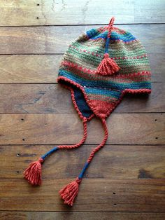 Handmade in Bolivia, this coloured knitted hat is lined with a soft felt. www.ecolosophy.com.au
