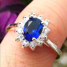 Beautiful Sterling Silver Blue Sapphire CZ Ring Brand New .925 Sterling Silver Stamped Jewelry Rings