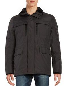 Calvin Klein Faux Fur-Trimmed Zip-Front Coat Men's Pewter Medium