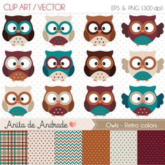 Owls Digital Clipart  Commercial use   by AnitadeAndradeStore