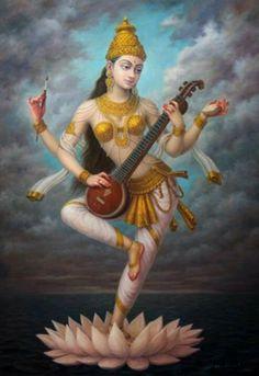 Goddess Saraswati devi Saraswati: Goddess of Knowledge & Arts Saraswati Goddess, Goddess Art, Durga, Lord Saraswati, Shiva, Krishna, Hanuman, Indian Gods, Indian Art