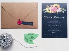 Convite de Casamento rústico - estilo chalkboard