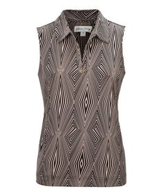 Look what I found on #zulily! Black Geometric Embellished Sleeveless Polo by Sport Haley #zulilyfinds