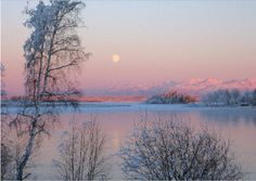 MOONRISE IN THE AFTERGLOW  A mid-December day sunset highlights the moon rising over the mouth of Meadow Creek, Alaska. - See more at: http://greetingcardcollection.com/products/holiday-cards-nature-scenic/763-moonrise-in-the-afterglow