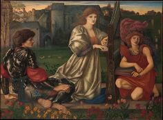 """Burne-Jones associated this painting with a refrain from a Breton folk ballad: """"Alas, I know a love song, / Sad or happy, each in turn."""" Drawing inspiration from the gothicizing Pre-Raphaelite movement, the artist conjured a twilight scene with a richly romantic, medieval air, enhanced by allusions to Italian Renaissance art, from the warm, dewy colors to the gracious figures and original frame, which recalls sixteenth-and-seventeenth-century Venetian designs"""