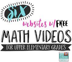 Upper Elementary Snapshots: 6 Math Video Websites for Upper Elementary Students … Math Websites, Video Websites, Elementary Math, Upper Elementary, Fifth Grade Math, Fourth Grade, Math Coach, Teaching Math, Teaching Ideas