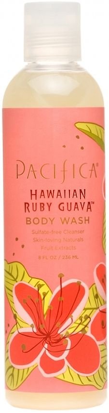 Pacifica Hawaiian Ruby Guava Body Wash is a SLS + Paraben free Body Wash. Ruby Guava Pacifica Body Wash is inspired by a surfing trip to Hawaii, this sexy + sultry tropical blend combines sweet, berry like notes of Guava with a bright, citrusy top note of Pomelo + a warm + subtle Coconut base. Pacifica Body Wash is 100% Vegan. Animal Cruelty Free + gentle for Sensitive Skin. #BodyWash #Bath #ShowerGel #SensitiveSkin #DrySkin #Aromatherapy #RubyGuava #Pacifica made with Natural + Organic…